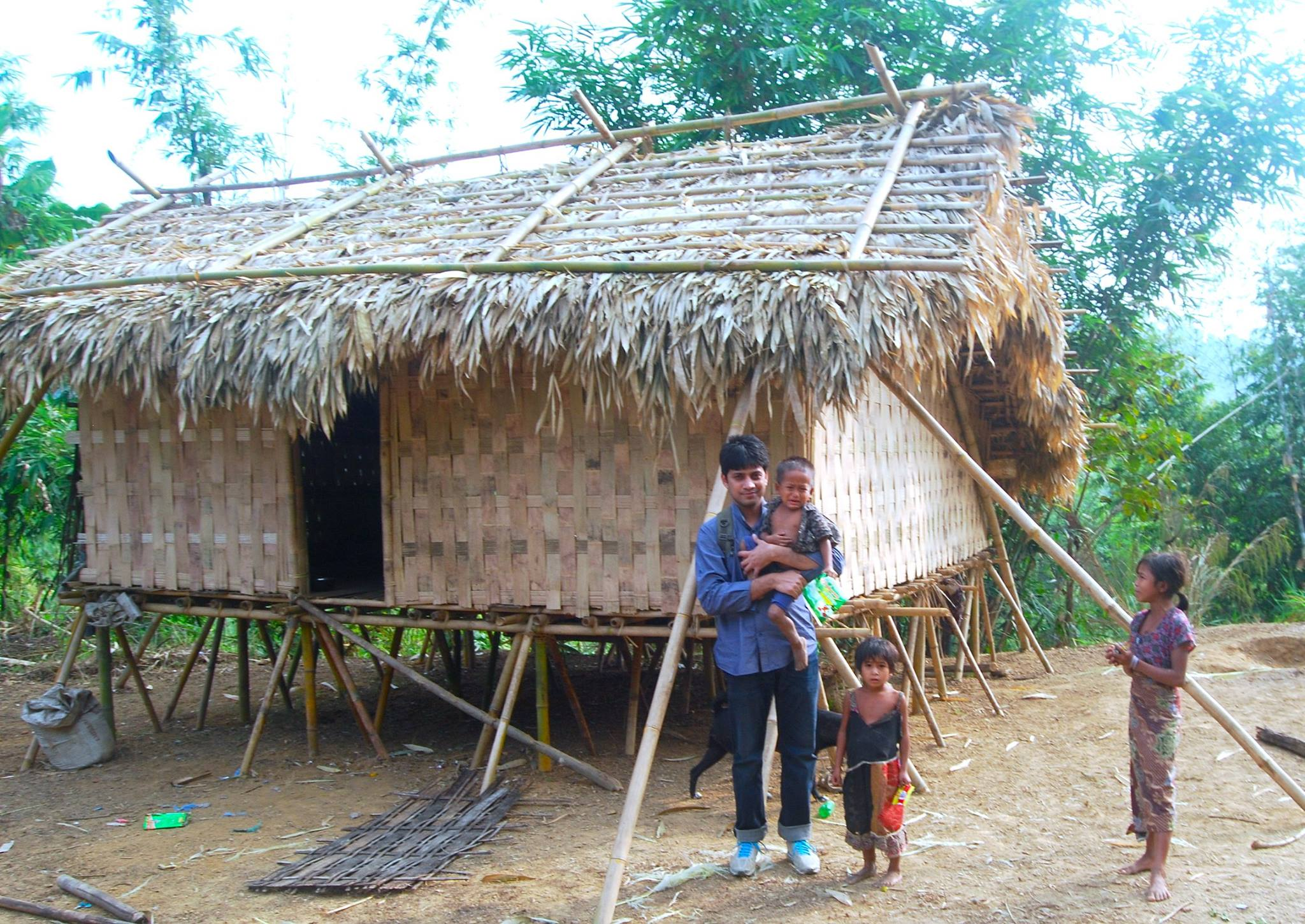 Me in front of a Tribal House, Khagrachari Hill tracts, Bangladesh